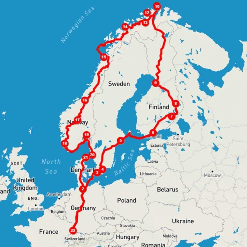 Erste Idee der Reiseroute durch Skandinavien